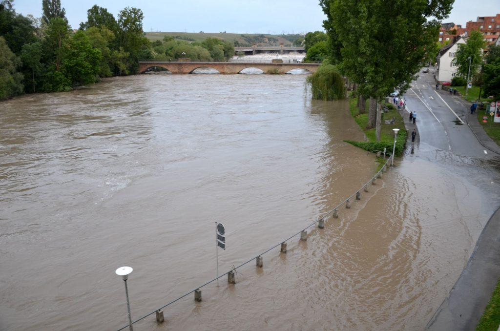 Hochwasser des Neckars in Lauffen am Neckar